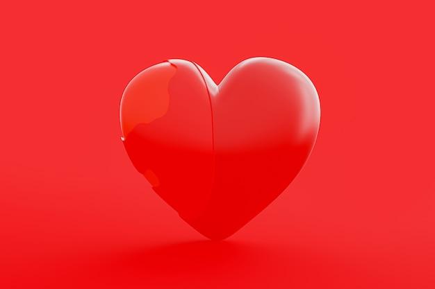 Het hart is onvolledig en heeft bescherming nodig. hou van idee concept, 3d render.