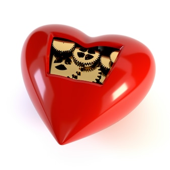 Het hart van het mechanisme, geïsoleerd op een witte achtergrond.