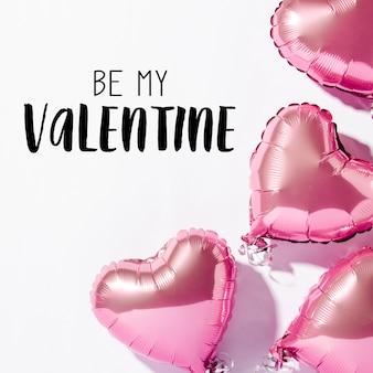 Het hart van luchtballons op een witte oppervlakte, de dagconcept van valentine