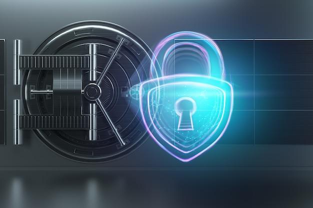 Het hologram van het kasteel op de muur van de deuren van de bankkluis. het concept van depositobescherming bescherming van gegevensbeschermingstechnologie voor besparingen. kopieer ruimte 3d illustratie 3d render.