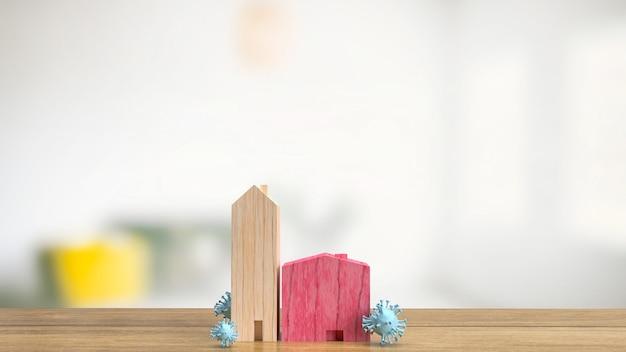 Het houten huis en virus voor medische of uitbraakconcept 3d-rendering