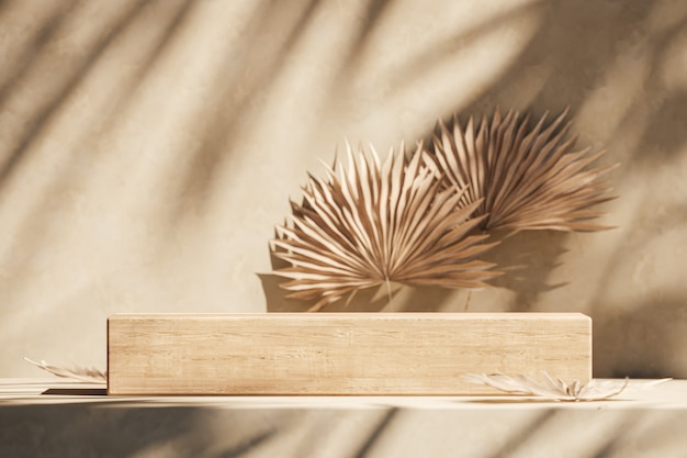 Het houten platform op beige scène, zonnescherm schaduw tropische planten op muur en wazige achtergrond. abstracte achtergrond voor productpresentatie of advertenties. 3d-rendering