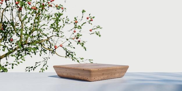 Het houten podium van de productvertoning met de vage achtergrond van aardbladeren. 3d-rendering