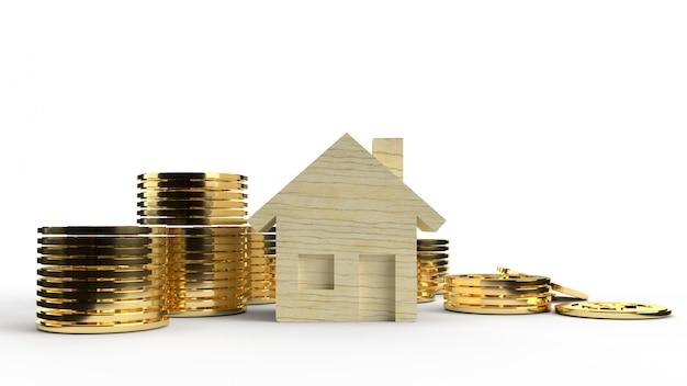 Het houten speelgoed huis en gouden munten