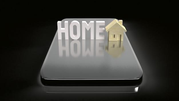 Het huis houten speelgoed en de mobiele telefoon voor het 3d teruggeven van eigendomsinhoud.