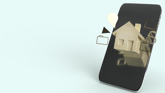 Het huis houten stuk speelgoed en smartphone, het 3d teruggeven