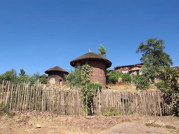 Het huis in de stad lalibela, ethiopië