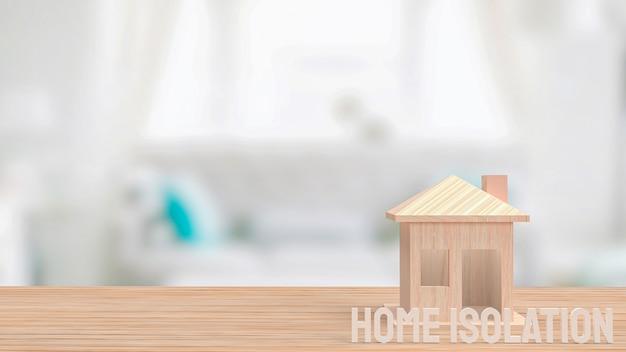 Het huis op houten tafel voor thuisisolatie concept 3d-rendering