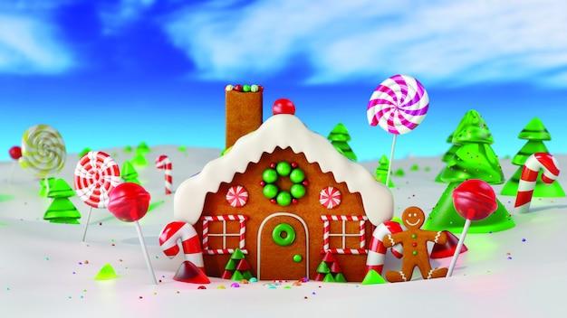 Het huis van de kerstmispeperkoek in sneeuw. 3d-weergave