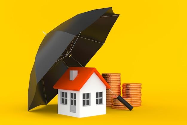 Het huis van de parapluwacht en stapel van gouden muntstukken - onroerende goederenhypotheek of bezitsverzekeringsconcept - 3d illustratie