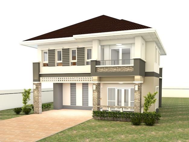 Het huisontwerp isoleerde witte achtergrond