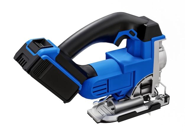 Het hulpmiddel is een blauwe elektrische decoupeerzaag op een wit geïsoleerd oppervlak