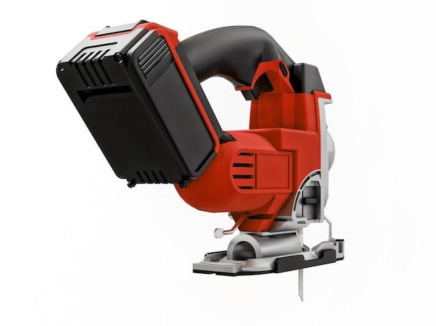 Het hulpmiddel is een rode elektrische decoupeerzaag op een witte geïsoleerde achtergrond. 3d-weergave.