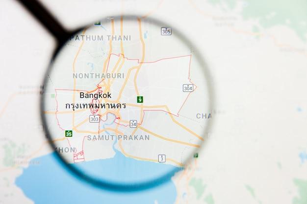 Het illustratieve concept van de de stadsvisualisatie van bangkok, thailand op het vertoningsscherm door vergrootglas