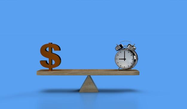 Het in evenwicht brengen van de klok en van het geld op een geschommel. tijd is geld illustratie. financieel strategie bedrijfsconcept.