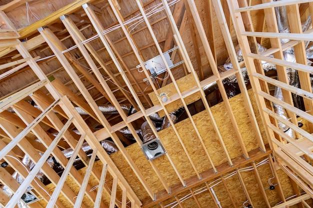 Het inlijsten van een onafgewerkt houten frame of een huis