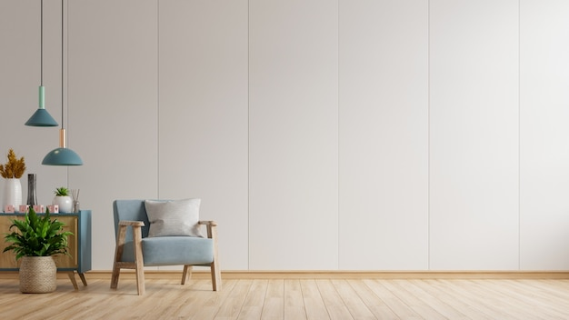 Het interieur heeft een blauwe fauteuil op lege witte muur, 3d-rendering