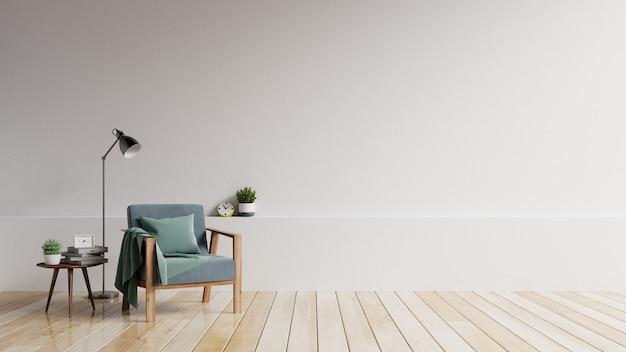 Het interieur heeft een fauteuil met witte lege mockupwand en beige fauteuil.