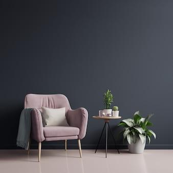 Het interieur heeft een fauteuil op lege donkere muur achtergrond, 3d-rendering