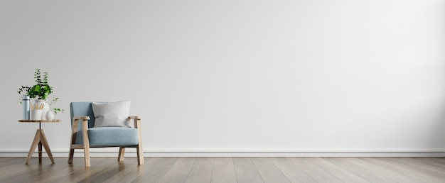 Het interieur heeft een fauteuil op lege witte muur, 3d-rendering