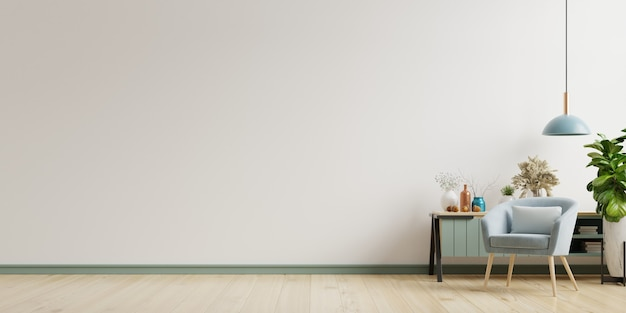 Het interieur heeft een fauteuil op lege witte muur achtergrond, 3d-rendering