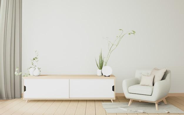 Het interieur houten kast en fauteuil minimaal in moderne witte kamer japans. 3d-weergave