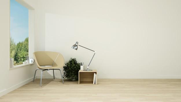 Het interieur minimale hotel ontspant ruimte 3d-rendering en natuurzicht