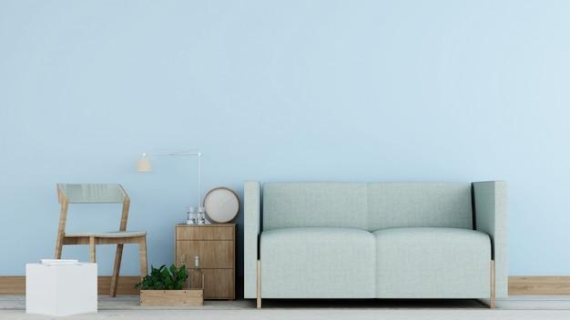 Het interieur minimale relaxruimte in condominium en achtergronddecoratie betonnen muur 3d-rendering