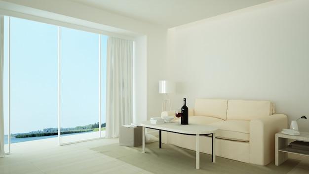 Het interieur ontspant ruimte 3d-rendering en wit minimaal