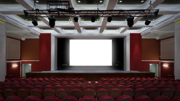 Het interieur van de hal in het theater of bioscoop uitzicht op het podium