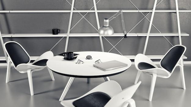 Het interieur van de kamer met drie stoelen en een tafel is gemaakt in een moderne zakelijke stijl.