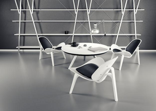 Het interieur van de kamer met drie stoelen en een tafel