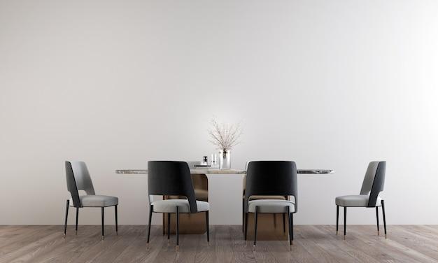 Het interieur van de kamer van luxe eetkamer en lege witte muur patroon, 3d-rendering