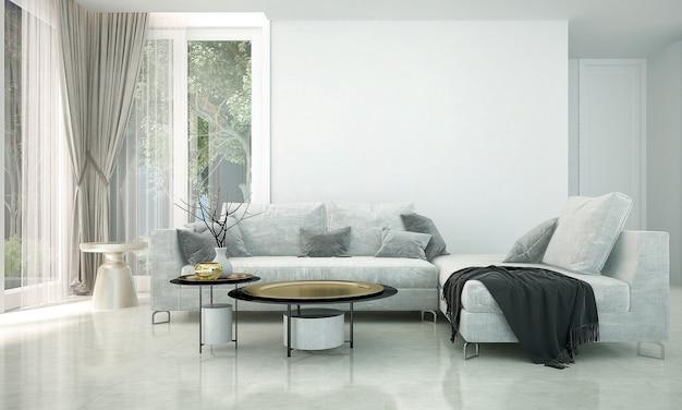 Het interieur van de kamer van luxe woonkamer en witte muur, en uitzicht op de tuin, 3d-rendering