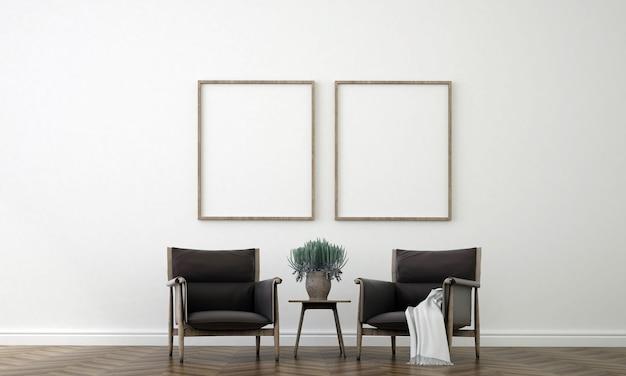 Het interieur van de kamer van woonkamer en canvas poster op lege witte muur, 3d-rendering