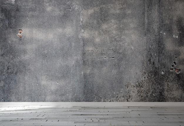Het interieur van de loft van lege woonkamer en betonnen wand