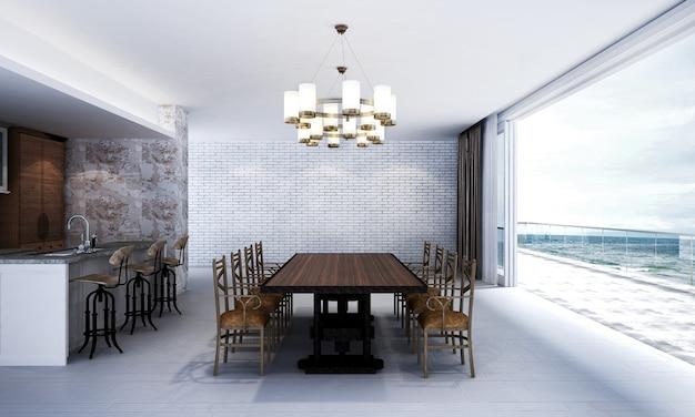 Het interieur van de lounge en de eetkamer en de lege betonnen muurtextuurachtergrond