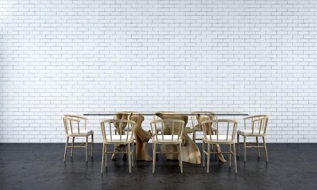 Het interieur van de lounge en de eetkamer en de lege witte bakstenen muurtextuurachtergrond