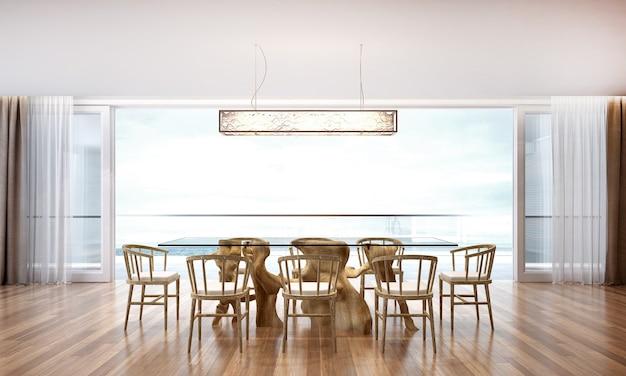 Het interieur van de lounge en eetkamer en de achtergrond met uitzicht op zee