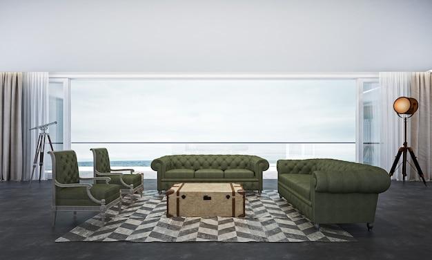 Het interieur van de lounge en woonkamer en de achtergrond met uitzicht op zee