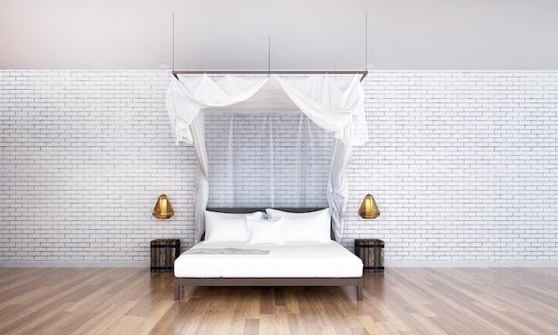 Het interieur van de woonkamer en slaapkamer en de achtergrond van de betonnen muurtextuur
