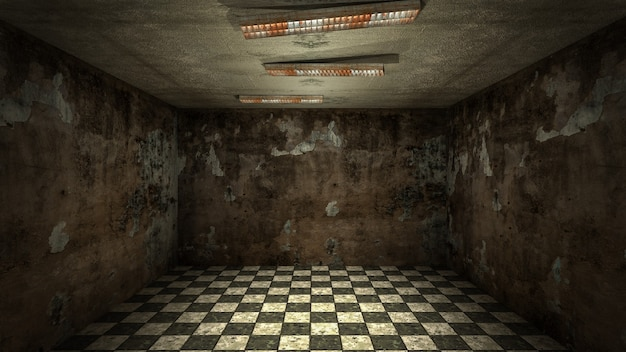 Het interieur van horror en griezelige schade lege ruimte, 3d-rendering.