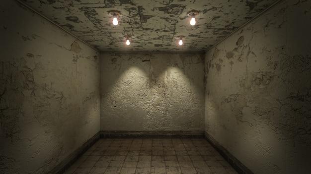 Het interieur van horror en griezelige schade lege ruimte., 3d-rendering.