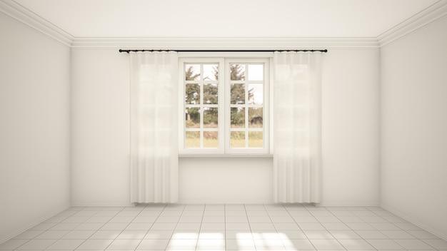 Het interieur van lege kamer en woonkamer moderne stijl met raam en witte tegelvloer.