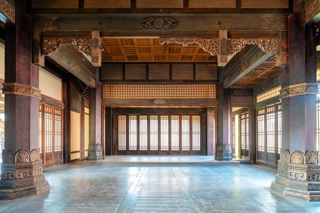 Het interieur van oude gebouwen in de qin- en han-dynastieën van china