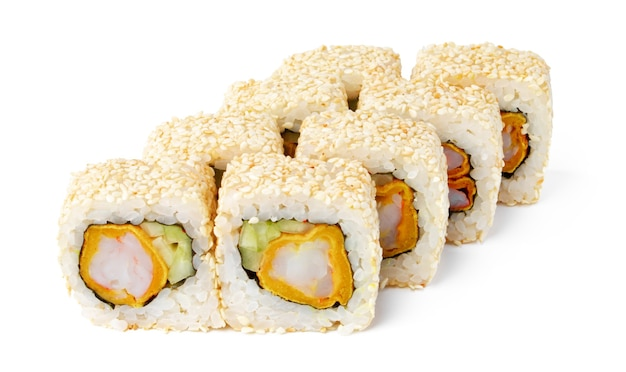 Het japanse broodje van keukensushi op een wit