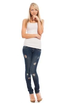 Het jonge aantrekkelijke vrouw geïsoleerd stellen