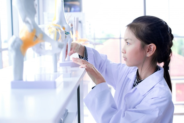 Het jonge aziatische schoolmeisje richtte op gebied van modelkniegewricht, onderwijs en orthopedisch concept.