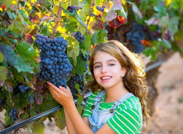 Het jonge geitjemeisje van de landbouwer in de herfstbladeren van de wijngaardoogst in middellandse-zeegebied