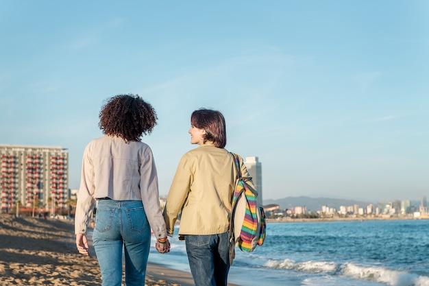 Het jonge paar lesbische vrouwen loopt hand in hand